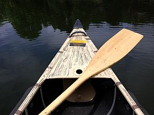 The cabin included free use of a rowboat, a canoe and a paddle-boat. We're out on the canoe!