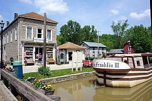 Metamora, Indiana sits on an old canal waterway that was dug out in the mid 1800s, just before railroads came in vogue. (The info boards providing history called the canal a financial disaster for Indiana.)
