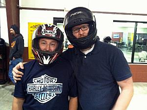 Keith in his motorcycle helmet and Craig modeling the stock helmet. Happy 30th, Keith - we drove go carts to celebrate.