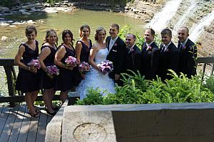The whole wedding party at Chagrin Falls