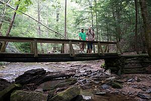 Jay and Chad posing on a bridge, during hike #2.