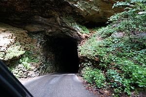 Driving through the Nada Tunnel, hoping nobody is coming our way!