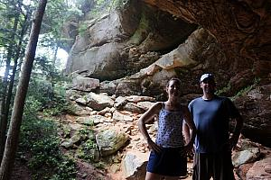 "Kelly and Chad smiling that we made it. I think we went on the wrong trail for an hour, and had to backtrack. We accidentally found ourselves on the aptly-named ""Rough Trail."""