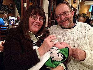Mom and Dad with their grandson Cooper, at dinner to celebrate my 31st.