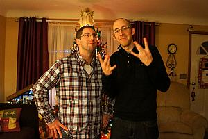 Christmas at my parents house - Chad and Jay goofing off. I believe we took a real smiling snapshot after this, but apparently it didn't make the cut.