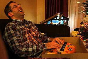 Chad opening an AWESOME Cooper gift -- a meowing keyboard that plays each note as a meow. Great work, Julie!