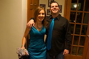 New Year's Eve at Brian and Allison's: Kelly and Mike Allison showing off their matching ensembles.