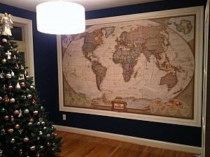 We finally put up this giant wall map that we bought back in 2009!