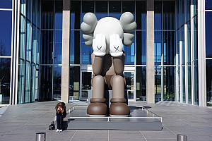 At the Modern Art Museum of Fort Worth - they had a giant KAWS statue on display! Kelly was deeply saddened to see it. (Actually, we were  excited, we had just read about KAWS the artist in a magazine a few weeks prior!)