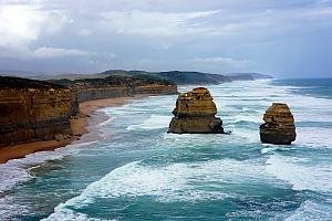 Some of the Twelve Apostles - a collection of limestone stacks along a cliff / shoreline. Very cool.