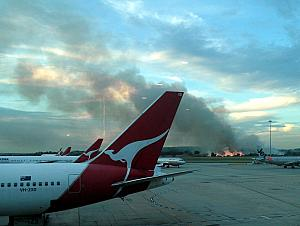 Looking out the windows from Melbourne's Airport -- a fire! We were told this was a controlled bush fire. We're on our way to Sydney.