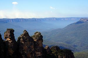March 27: after a two-hour train ride, we're off to go hiking in the Blue Mountains. Seen here, a rock formation known as The Three Sisters