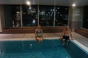 Recovering in the pool and hot tub. Conveniently located on the 61st floor ;).