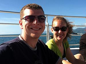 April 1 - Port Douglas: Kevin and Kelly enjoying the sun on the way out to the Great Barrier Reef.