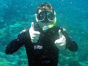 Kevin gives snorkeling two thumbs up!