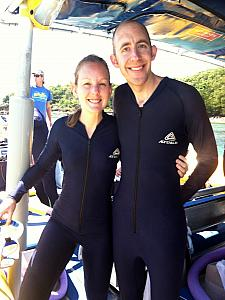 Kelly and Jay showing off our stinger suits!