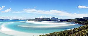 Beautiful Scenic view from atop Hill Inlet, looking down on Whitehaven Beach