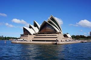 On a ferry, passing by the Opera House
