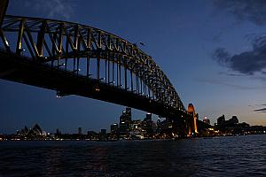 The Harbor Bridge at dusk