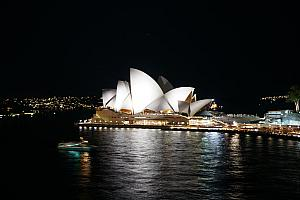 Good night to the Opera House, from our ship's balcony.