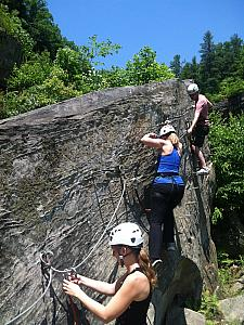 Day 3 - time to Rock Climb! Going through the training course at Torrent Falls.