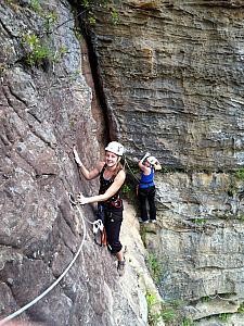 Kelly and Katie, out for a no-big-deal afternoon climb!