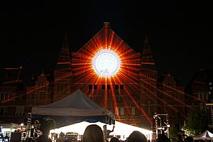 Music Hall lit up for Lumenocity 2013
