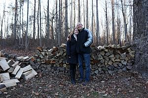 Jay and little sister Julie for an impromptu demo shot; showing off all the wood that we just finished chopping (ha ha)
