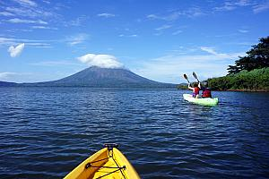 Back in a kayak, this time to the River Istian which runs between the two volcanos