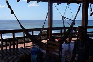 Inside the restaurant -- no surprise to see more hammocks!