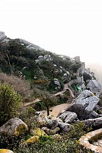 Visiting the Castle of the Moors ruins just outside the Pena Palace gardens.