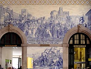 Sao Bento train station -- adorned with tile panels depicting scenes of Portugal's history