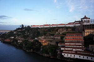 View of Vila Nova de Gaia, while crossing the Douro River on a bridge