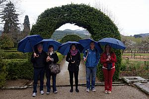 Not letting the rain stop us from wandering in the gardens at the Mateus Palace