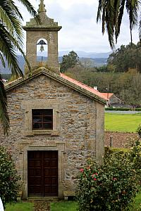 April 1: The river cruise is over. Back in Porto, we rented a van and drove 140 miles north into Spain, to Santiago de Compestela. This is a chapel next door to our bed and breakfast for the night.