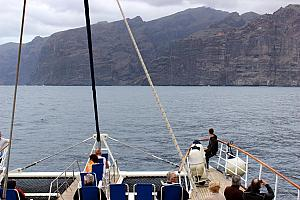 Arriving near Acantilados de Los Gigantes, giant rock formations along the island's west coast.