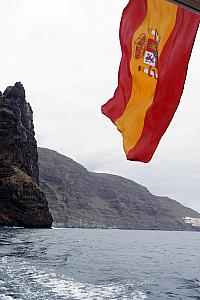 Capturing the Spanish flag at the rear of our boat.