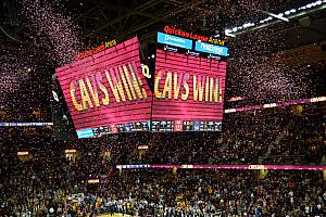 Cavs Win! We saw a fun game - the Cavs won by 34. I think they made their first 9 three-pointers.
