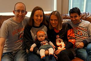 We celebrated Mario and Milda's last day in Cincinnati by watching the Bengals -- everyone dressed up to cheer them on!