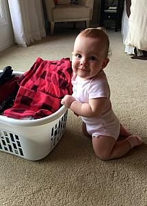 Helping fold (or unfold) laundry