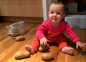 Playing with the potatoes