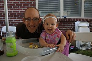 Capri and Daddy enjoying some backyard Chipotle!