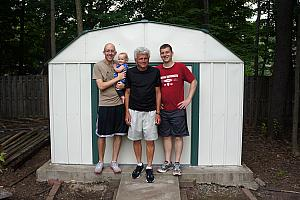 While the women were doing all this playing, us men built this shed in Kevin's backyard.