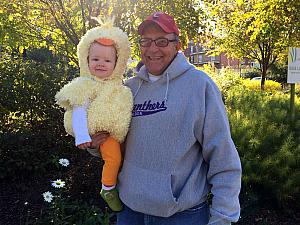 At the Zoo with Papa -- Capri in her Halloween costume