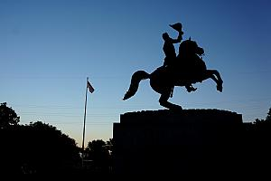 Andrew Jackson statue in the middle of Jackson Square
