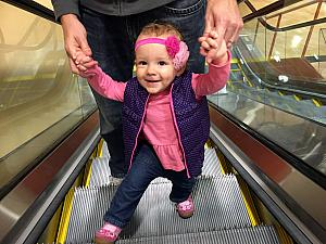 Having fun on the escalator