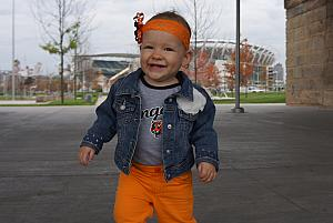 All dressed up in Bengals gear - ready for the Bengals and Browns on Thursday night football.