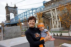 Capri and Grammy in front of the suspension bridge