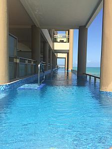 The infinity pool on our third-floor balcony