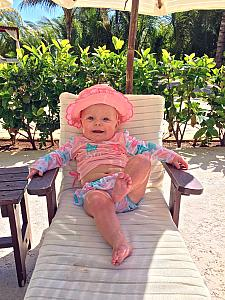Meanwhile, the little ones were having a good time back at the resort! Here's Kenley chilling in her lounge chair.